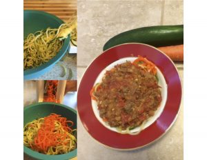 Zuchinni, Carrot and Noodles with lentil beef tomato sauce