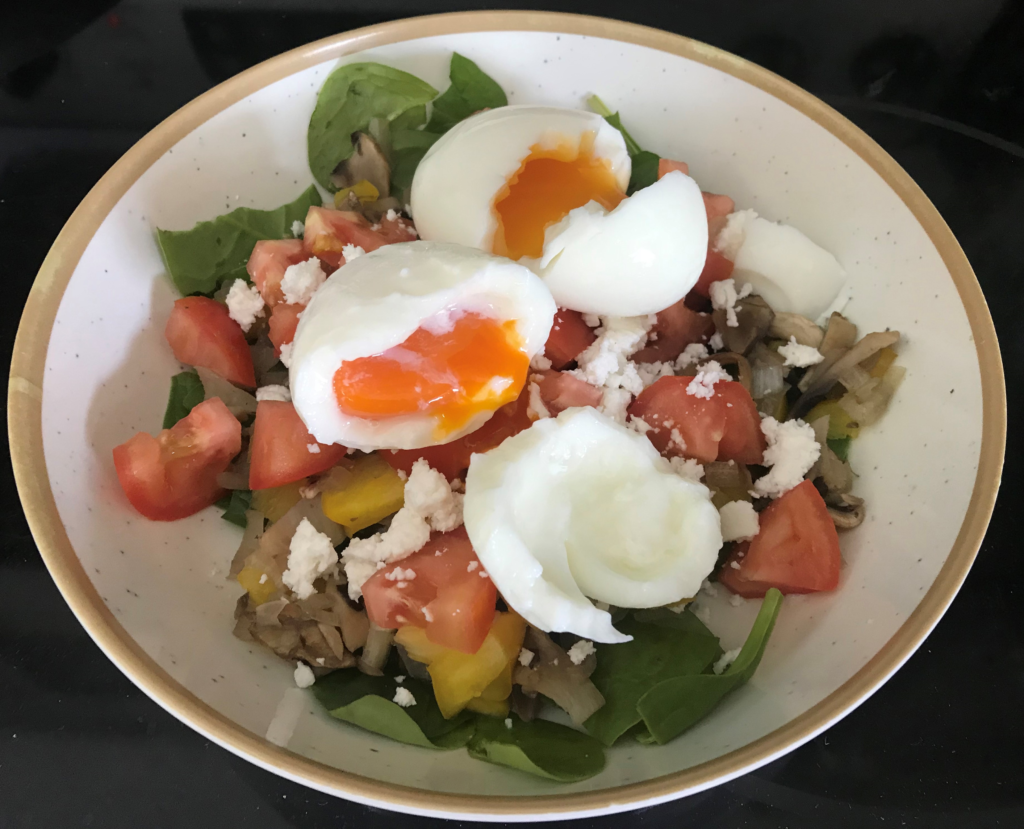 Eggs, Salad, healthy.